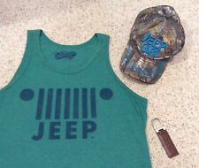 Jeep Bundle- Green Tank Top Medium, Ladies Baseball Cap, New Leather Key Chain