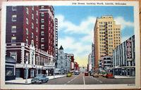 1940 Linen Postcard: 13th Street/Downtown, Bus Depot - Lincoln, Nebraska NE