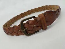 Abercrombie Braided Leather Belt Small Medium Metallic Brown Girls 26 28 30
