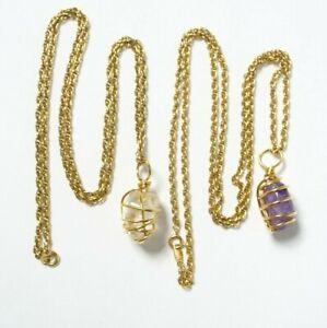 AVON Necklace Lot Wire Wrap Amethyst Clear Quartz Gold Tone Chain Pendant