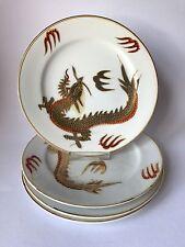 Asiatisches Porzellan 4 Desserteller Motiv goldener Drache Dm.19 cm