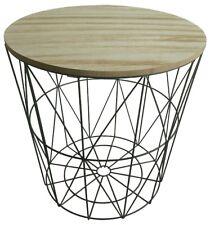 Beistelltisch Clara Metall Korb Couchtisch Sofatisch Holz Design Korbtisch