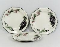 "3 Churchill VICTORIAN ORCHARD Salad Plates White Grapes Berries Green Rim 8"""