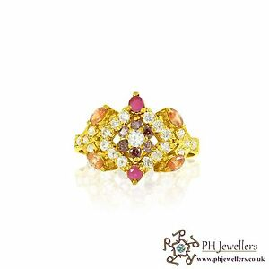 22ct 916 Indian Yellow Gold Ring with Multi colour CZ Stones Size O1/2  SR59