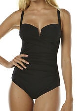 "BRAND NEW + TAG BILLABONG LADIES (16) ""SURFSIDE"" ONE PIECE SWIMSUIT BLACK"