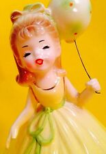 HAPPY BIRTHDAY Cute Josef Originals Girl Figurine Vintage 1950s Retro BALLOON