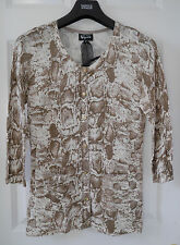 M&S Speziale Cotton+Cashmere Faux Snakeskin Print Cardigan, SZ 12, Carmel Mix