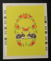 """EASTER 2 Bunny Rabbits & Flowers 8x10"""" Greeting Card Art #2213"""