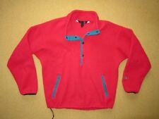 Vtg THE NORTH FACE Bright Red FLEECE JACKET Sweatshirt Coat Size LARGE Usa Made