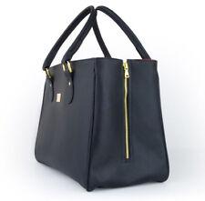 Damen Ledertasche Handtasche Schwarz Groß NEU - TOP DESIGN Henkeltasche Tasche