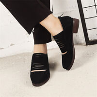 Women's Zipper Round Toe Oxfords Casual Chunky Block Low Heels Shoes Pumps Size