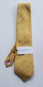 Vineyard Vines Silk Football Tie Yellow - New