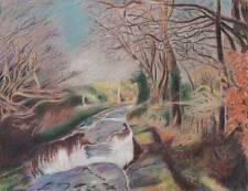 IMPRESSIONIST RIVER IN LANDSCAPE Pastel Drawing T J PITT 1992