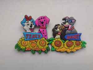 Pair of fridge magnets, plastic magnets, dog image and wishes, new, free shippin