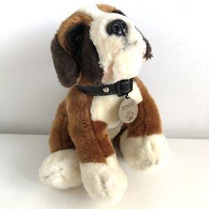 "Keel Toys BUMPER Boxer Dog Puppy Soft Toy Plush Black Collar & Name Tag 12"" Long"