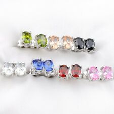 7pcs 1 Lot Rectangle Topaz Peridot Gar Onyx Gemstone Silver Stud Hook Earrings