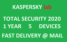 Kaspersky Total Security 2020 1 year/5 devices|Global key|Sent @ ebay message