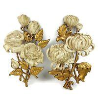 Vtg HOMCO 1962 Gold Rose Peony Floral Wall Hanging Hollywood Regency MCM 4460