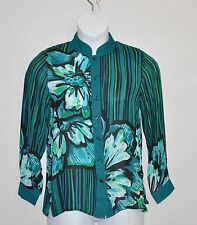 Bob Mackie Romantic Poppy Silk Blouse Size L-Green Multi