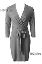 new RRP $150 WITCHERY WRAP VISCOSE GREY BUSINESS DRESS M 12