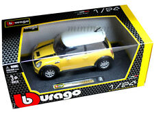 BBURAGO 18-22124 MINI COOPER S COUPE 1/24 DIECAST YELLOW with WHITE TOP