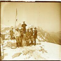 FRANCE Alpes Montagne Ski Sport D'Hiver Alpiniste, Photo Stereo Plaque Verre VR3