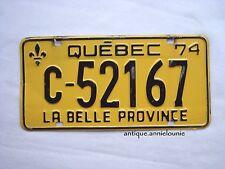 1974 QUEBEC Vintage License Plate TRACTOR # C-52167