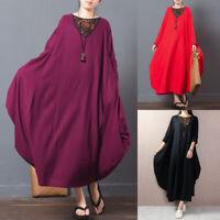Plus Size Women Batwing Long Shirt Dress Oversize Drape Loose Maxi Dress Plus
