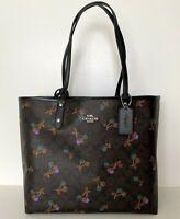 new Coach F31389 Reversible City Tote Coated Canvas handbag Brown multi