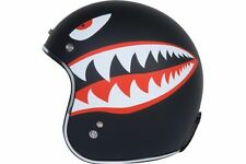 Torc Route 66 T50 Flat Black Flying Tiger Graphic 3/4 Open Face Helmet - Large