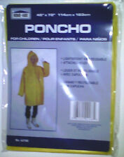 "4 Kids Rain Ponchos W/ Hood Yellow Waterproof Child 45"" X 72"" See My Other Items"