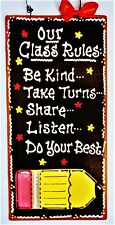 TEACHER Our Class Rules SIGN Classroom Wall Door Hanger Plaque Aide School Decor