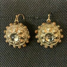 Antique Gold Bronze Vintage Finish Gems Glass Beads Stones Earrings