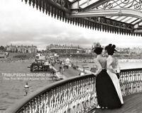 Old Photo - Vintage c1880 Two Women on Pier * Clacton on Sea * New 8x10 Print