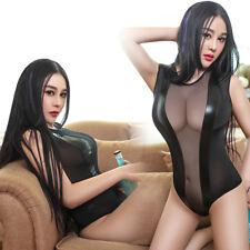 Sexy Damen Schier Netz Bikini Body Schritt offen Strampler Overall Unterwäsche
