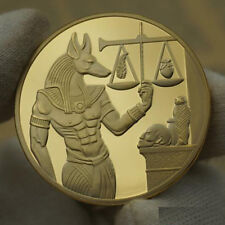 Egyptian Gods Series Anubis Badge Collectible Coin Gold Plated 40x3mm