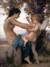 WILLIAM ADOLPHE BOUGUEREAU A YOUNG GIRL DEFENDING AGAINST EROS ART PRINT 3106OM