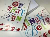22 Jingle Bells Oh What Fun Christmas Greeting Cards Pastel Pink Blue Green Red