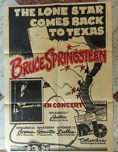 Original 1974 Bruce Springsteen Concert Poster Live Texas Tour Rare