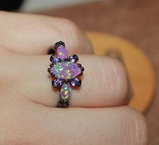 fire opal Amethyst ring gems black gold filled jewelry 6.5 8 8.5 10.5 cocktail