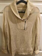 Gap Sweater Shawl Collar Pullover 1/4 Zip Wool Blend Ivory Women's Sz L