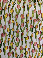 White Small Tulip Flowers 100% Printed Cotton Fabric