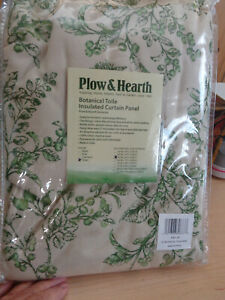 """NWT PLOW & HEARTH GREEN TOILE INSULATED CURTAIN PANEL 42"""" X 63"""""""