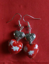 Lampwork drop dangle, silver plated earrings,red white heart, tibetan, (67)