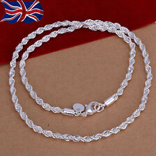 "925 Sterling Silver plated Rope Necklace Chain Link Twisted 18"" Ladies Gift UK"