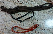 "DOG LEASH LOT 3  BROWN RED BLACK LONGEST 64""  COLLAR"