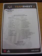 09/08/2008 COLORI teamsheet: Newcastle United V Valencia Friendly []. condizioni: