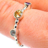 Citrine, Blue Topaz, Amethyst 925 Sterling Silver Ring Size 9.25 Jewelry R52017F