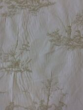 Woven Toile De Jouy Sage Green curtain fabric by the metre