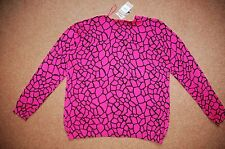 New Sz 20 Cerise Pink & Black Animal knitted motif Button Front Cardie Cardigan